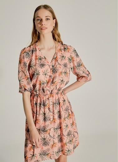 NGSTYLE Çiçek Desenli Düğmeli Elbise Somon